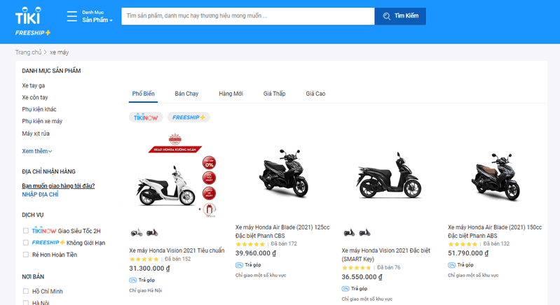 Có nên mua xe online trên Tiki