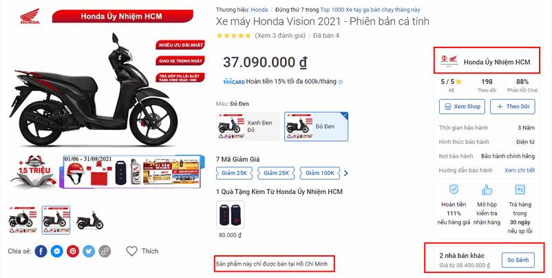 Lưu ý khi mua xe online trên Tiki